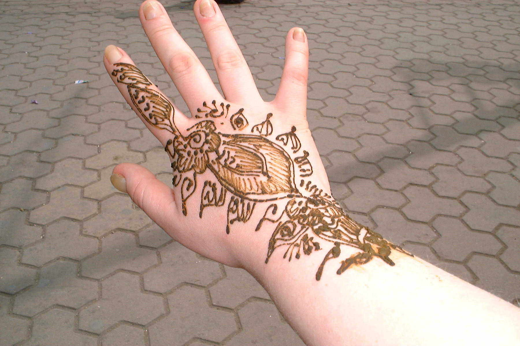 My hand with henna (Marrakech, Morocco 22-05-2004) (purpose of page is to display an image)