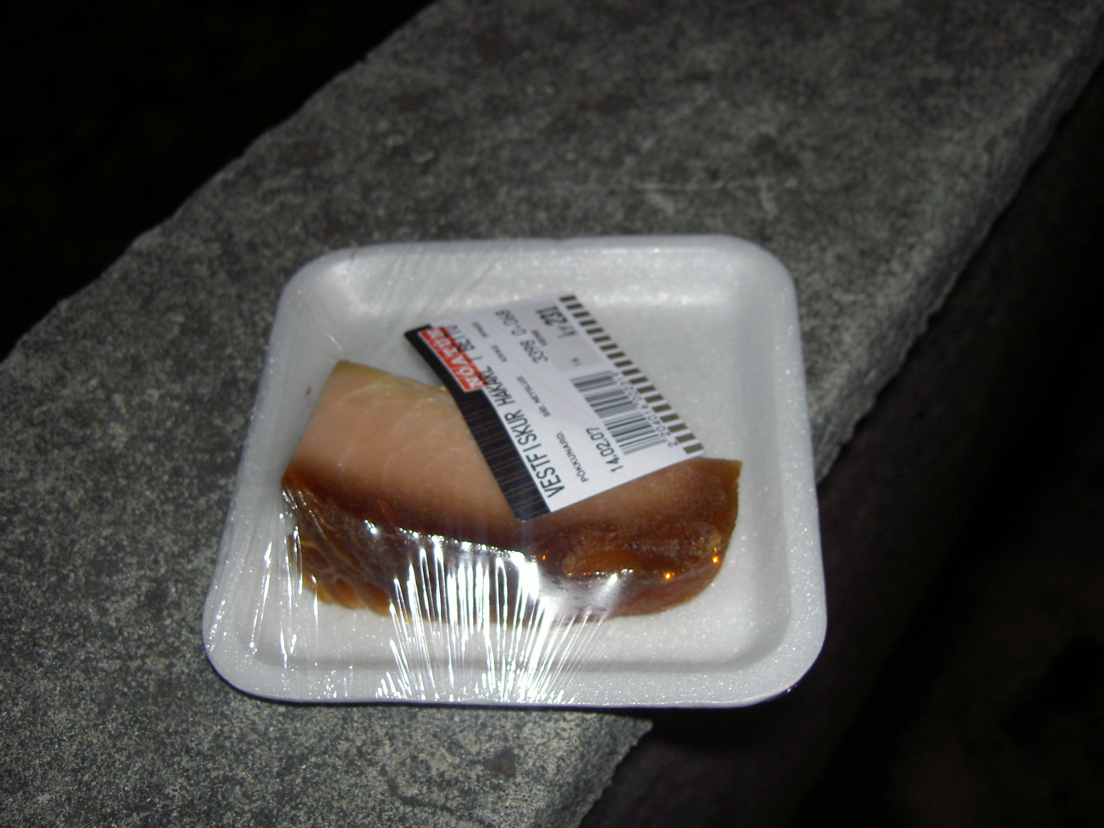 A piece of hakarl (putrified shark meat) (purpose of page is to display an image)