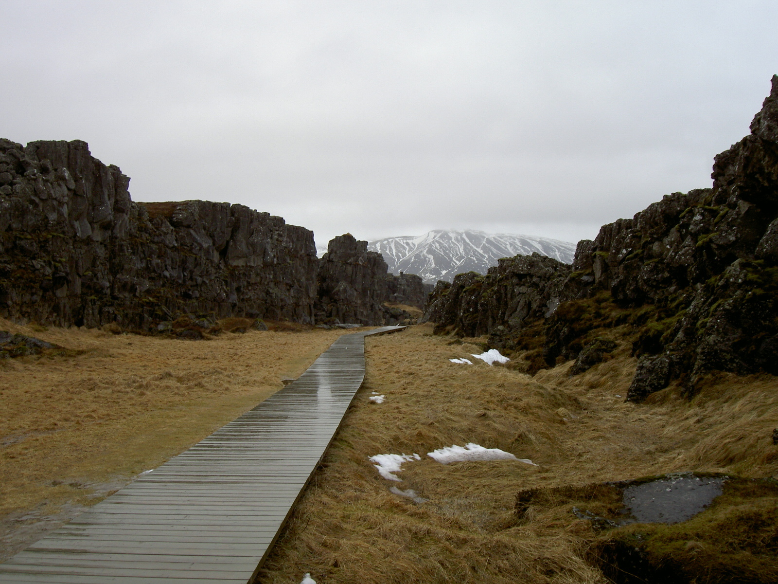 Path to waterfall close to lake Thingvallavatn near location of first general assembly (purpose of page is to display an image)