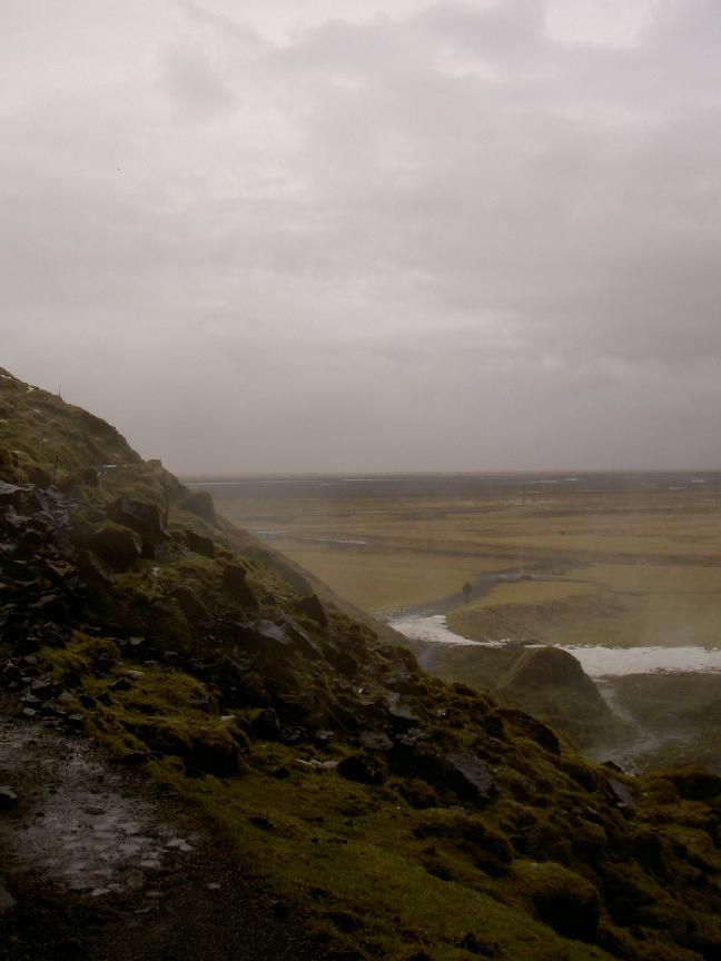 View from hill with waterfall in South Iceland (purpose of page is to display an image)